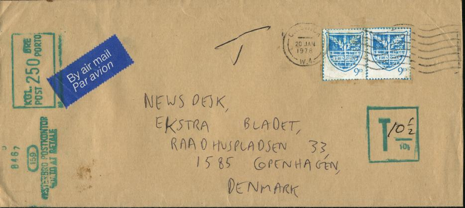 Letter delivered to Copenhagen