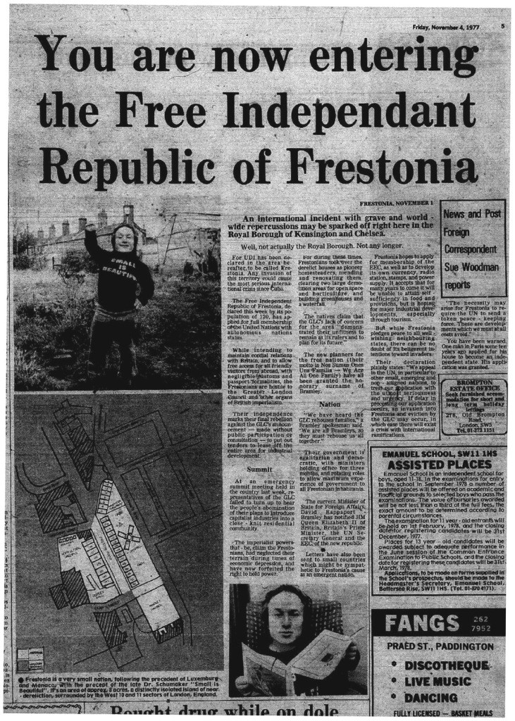 Article published in the Kensington News and Post on November 4th, 1977.