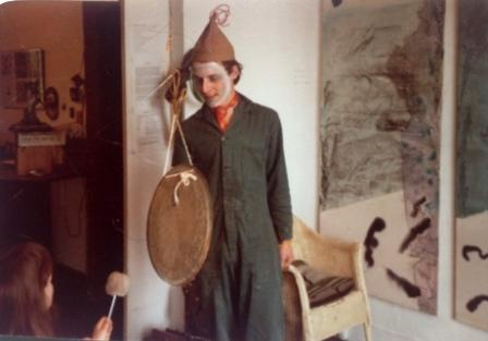 "Giles Leaman in a performance of ""circle and the square"" at the Carbreakers Gallery, 1980."